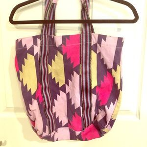 Old Navy patterned tote bag with clasp
